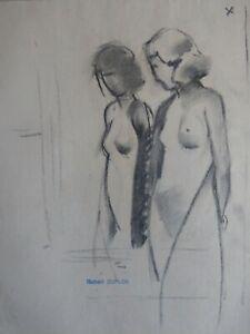 Robert-DUFLOS-Dessin-ancien-fusain-etude-5-femme-nue-cachet-Erotique-1920-30