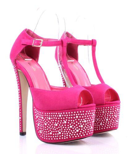 """4 Color Slingbacks Prom Pumps Blink Platform T-strap Women 6.5/"""" High Heels Shoes"""
