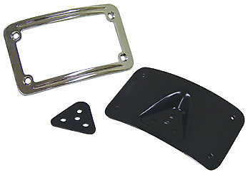 Black Laydown License Plate Mounting Bracket for Harley License Plate Mount Kit