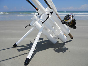 Details about ROD RUNNER PRO: WHITE FISHING ROD HOLDER & CARRIER CAMPING, SURFPIER & BOAT