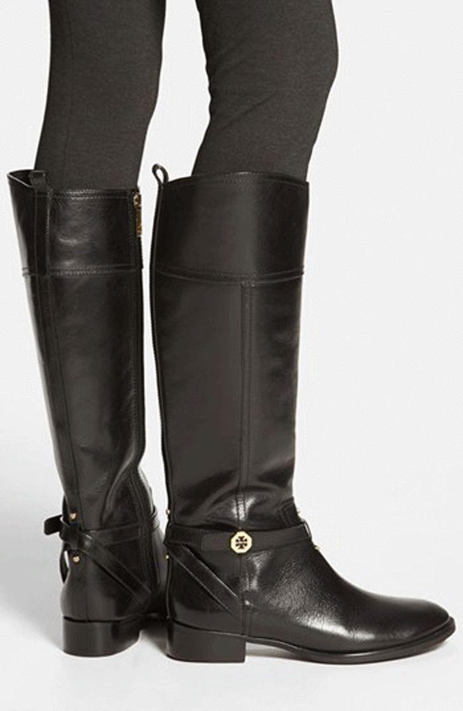 495+ Tory Burch Brita Talla 6 Cuero Cuero Cuero Negro botas Hasta La Rodilla Alto Bota de montar a caballo nuevo  de moda
