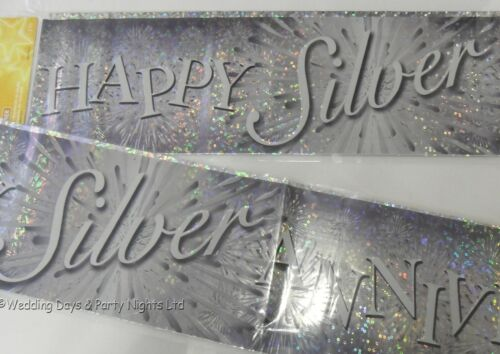 9ft Holographic Happy Silver 25th Wedding Anniversary Party Banner Decoration