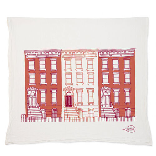Claudia Pearson: Red Brownstones Tea Towel