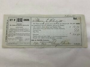Antique Tax Bill Ephemera Concord, NH History 1890 Receipt Murray E Blodgett