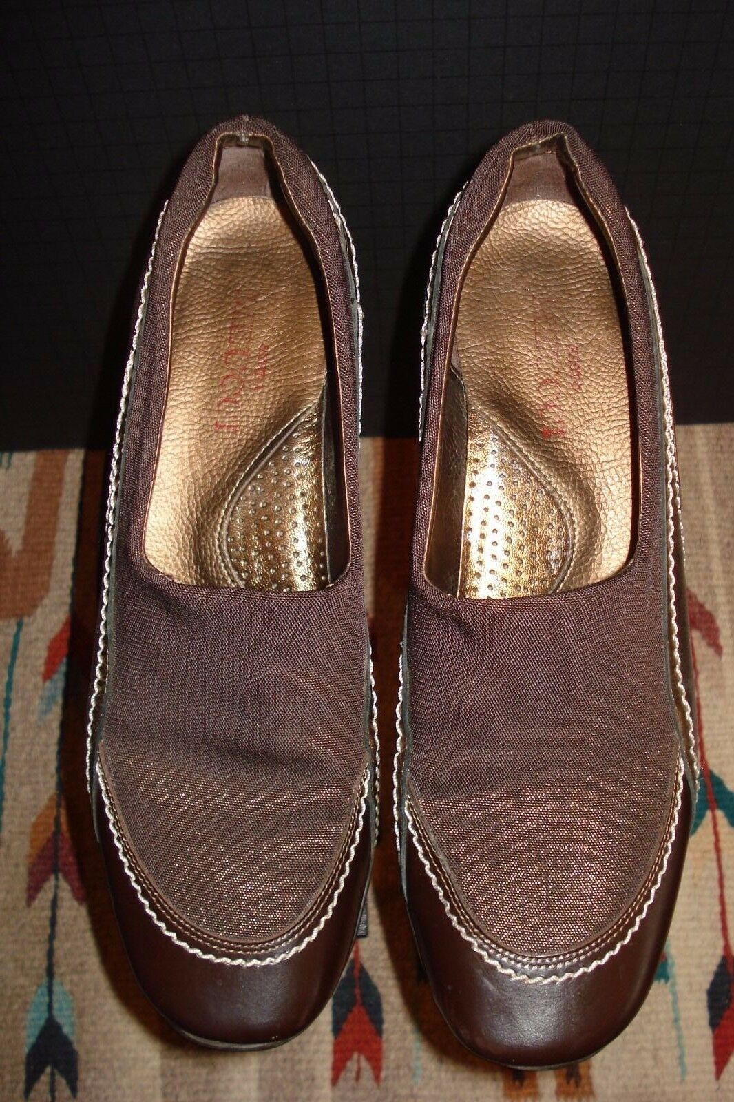 Sesto Meucci Brown Stretch Fabric Brown gold Leather Trim Loafer Sz. 8M