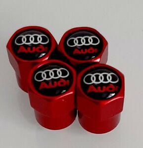 Audi Logo Valve Caps Red x4  TT A1 A3 A4 B5 B6 B7 A5 C5 A6 A7 A8 A1 Q2 Q3 Q5