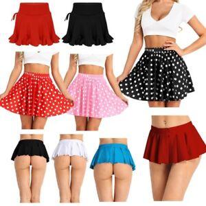 Women-Schoolgirl-Mini-Micro-Skirt-Pleated-Skater-Dress-Latin-Dancewear-Costumes