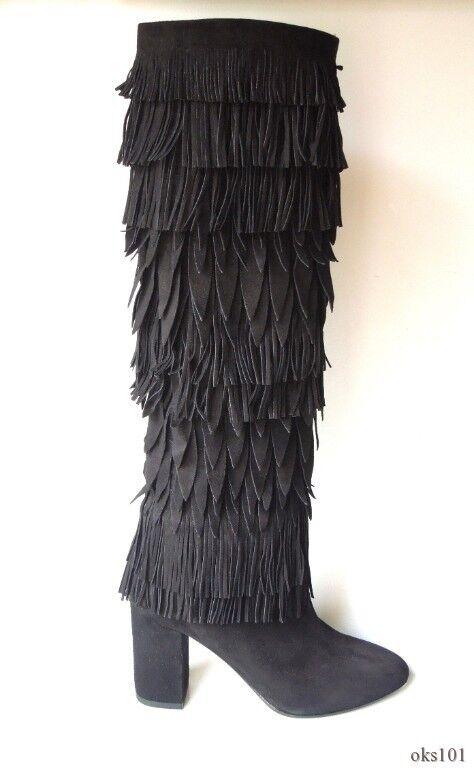 fino al 60% di sconto New  1495 AQUAZZURA Woodstock nero nero nero suede FRINGE tall stivali 36 6 - stunning  vendite dirette della fabbrica