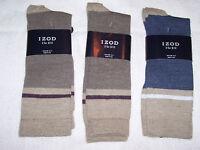 3 Pair Izod Socks -lightweight - Slightly Irregular - Biege/blue 10-13