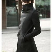 Stylish mens korean slim fit wool  trench coat windbreaker long jacket parka new