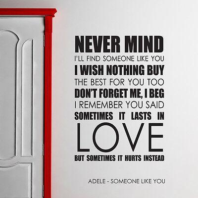 Adele Wall Art Sticker Someone Like You Lyrics Decal Music Quote L13 Ebay