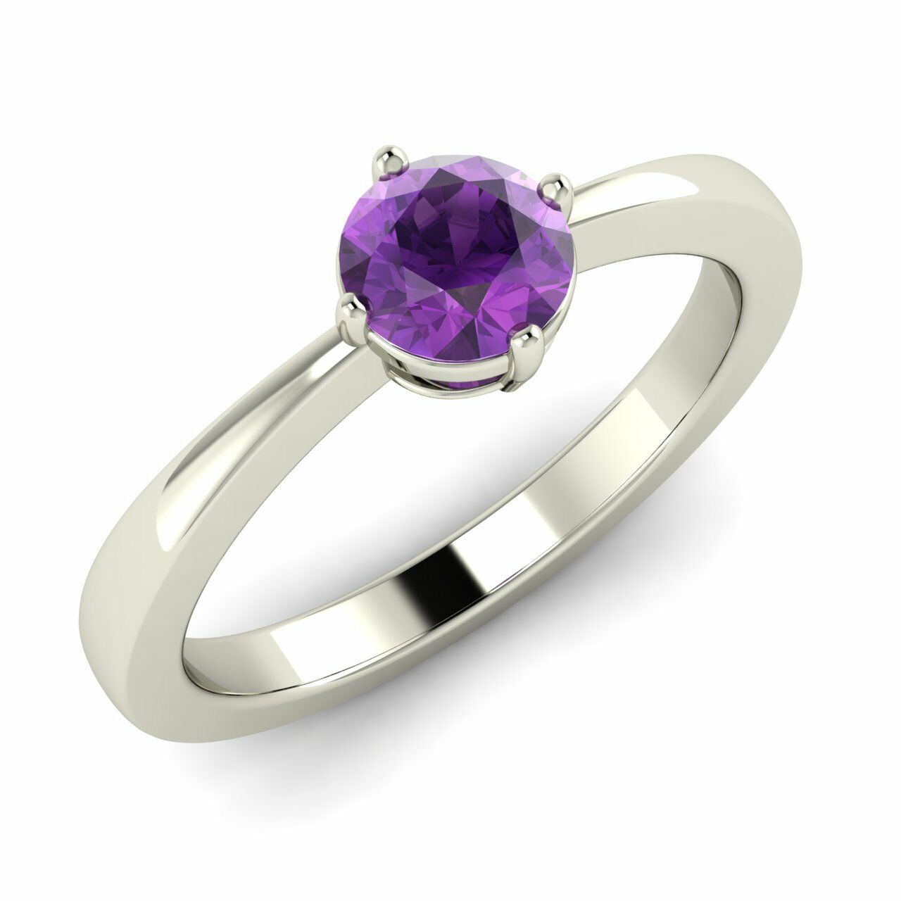 Certified 0.35 Cts Natural Amethyst Solitaire Engagement Ring In 14K White gold