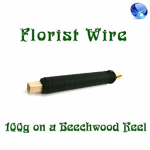 Black-Florist-Wire-on-Beechwood-Reel-Floral-Wires-Supplies-100g-Roll-Art-Crafts