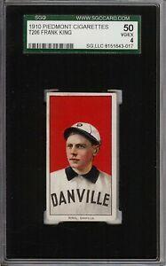 Rare 1909-11 T206 Frank King Piedmont 350 Southern League Danville SGC 4 VG - EX