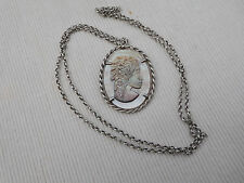 CHAINE COLLIER ARGENT MASSIF MAILLE JASERON ABALONE NACRE 20.65Grs INDIEN B140