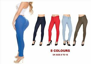 NEW-WOMENS-JEGGINGS-SKINNY-FIT-COLOURED-STRETCHY-GIRLS-FASHION-JEANS-TROUSERS