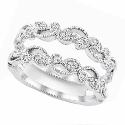 Enhancer Ring Guard Wrap Lab Diamond Solitaire   Silver