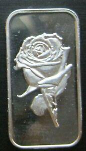1 GRAM GR G .999 Fine Pure Solid Silver Bullion Bar Rose