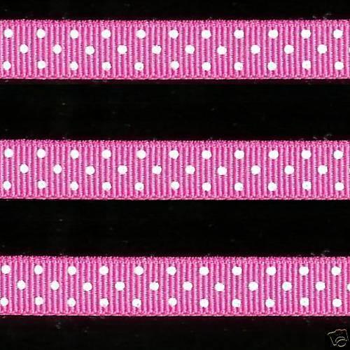 "5 yards 3//8/"" Hot Pink Swiss Polka Dot Grosgrain Ribbon"