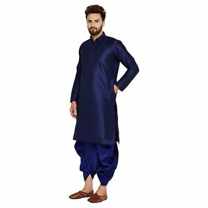 Mens Dupion Silk Dhoti Kurta Set Indian Wedding Traditional Wear Ebay