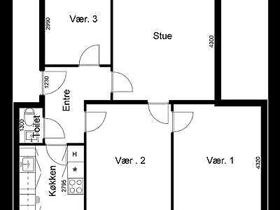 8000 vær. 4 lejlighed, m2 88, Vestre Ringgade