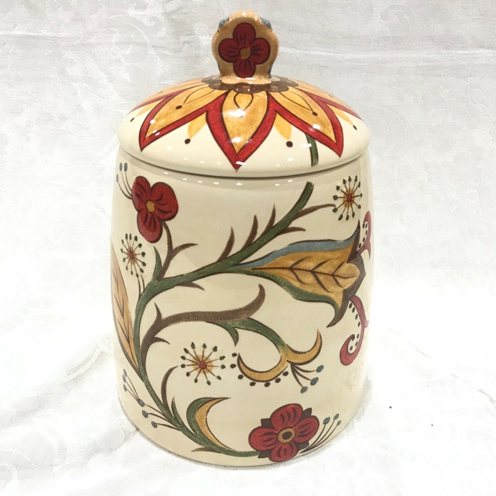 "Pier 1 Carnythum CANISTER COOKIE JAR WITH LID 11"" TALL X 7"" WIDE AT BASE"