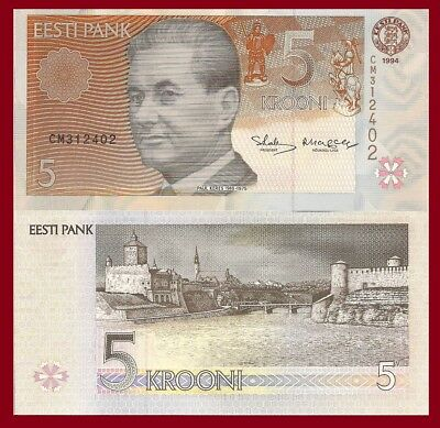 - p86a 1994//2006 Estonia 2 Note Set: 2 /& 5 Kroon p76 UNC