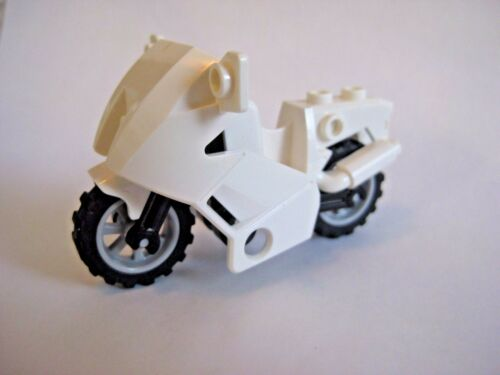 Lego MOTORCYCLE for Minifigures to Ride - City Town Police -WHITE