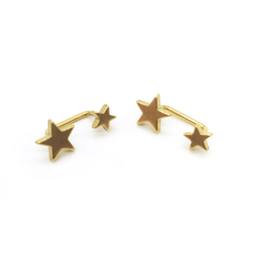 2pcs Stainless Steel Double Star Curved Barbell Bar Ear Stud Unisex Earring Punk