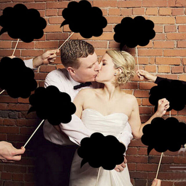 DIY Photo Booth Prop Wedding Birthday Party Black Card Chalk board Stick  Hot