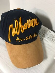 Melbourne-AUSTRALIA-Baseball-Cap-Suede-Bill-One-Size-Strapback-Navy-amp-Tan-NWT
