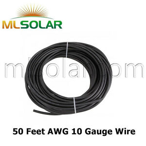 10 Awg Solar Panel Wire 50ft Power Cable Ul 4703 Copper