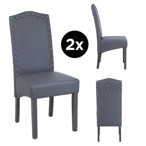 Dining Chairs Faux Leather, Chrome Knocker, Wipeable, Spill Resistant, Resilient Dark Grey Faux Leather,Taupe Faux Leather
