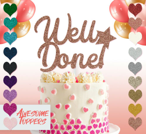 Cake Topper Personalised Custom Well Done Glitter Decoration Gold Party