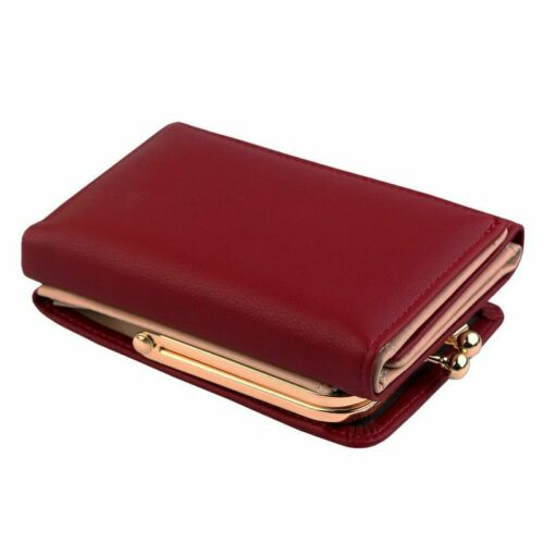 Wallet Women Short Black Red Money Purse Small Fold PU-Leather Coin Card Holder