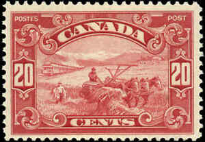 1929-Mint-Canada-F-Scott-157-20c-King-George-V-Scroll-Stamp-Never-Hinged