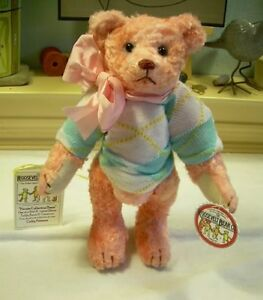9-034-Artist-rayon-Teddy-ROOSEVELT-BEAR-Co-Peach-OOAK-hand-made-Cathy-Peterson-NEW