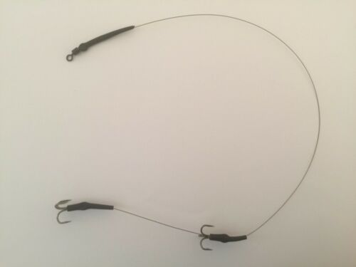 1 x Wire Live Dead Bait Trace 30lb 5 Inch Spaced Bronze Treble Hooks Pike etc
