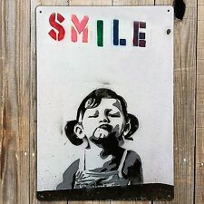BANKSY SMILE GIRL Photo Poster Print On A Metal Sign GRAFFITI WALL ART A5