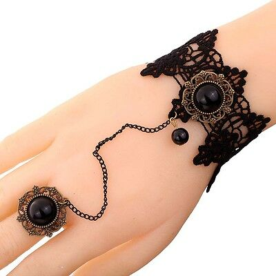 Black Lace Bronze chain Gemstone Flower Ring Bracelet Bangle Victoria jewelry