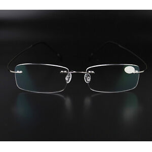 50149123bda6 Image is loading Rimless-Glasses-Men-Rx-Optical-Eyeglasses-Memory-Titanium-