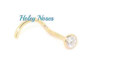 9ct yellow gold 0.02ct  Diamond  Nose Stud Ring Pin Bone body jewellery coneset