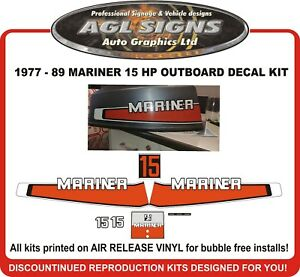 Details about 1977 - 1989 Mariner 15 hp Outboard Decal Kit reproductions  9 9 hp 20 hp also