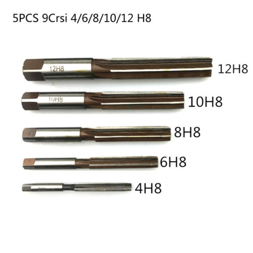 5Pcs//Set Hand Reamers Chucking Straight Shank Tool Cutter 4mm-12mm H8 Practial