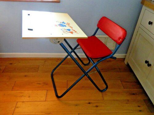Fauteuil / bureau pliant pour enfant, vintage, rétro, siège Donald Duck, siège en émail bleu et rouge