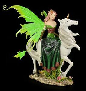 Elfe auf Einhorn im grünen Kleid ELFENFIGUR 20cm Elfen Fee Fantasy Dekofigur