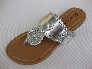2a9377d4405f Pierre Dumas Womens Shoes  39 Rosetta Silver Slide Sandal Thong 7.5 ...