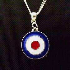 "1 x  Silver Plated 22"" Necklace Mod Symbol Enamel Pendant"