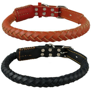 Hand-made-Rolled-Leather-Dog-Collars-Soft-Braided-Round-Strong-Black-Brown-M-L