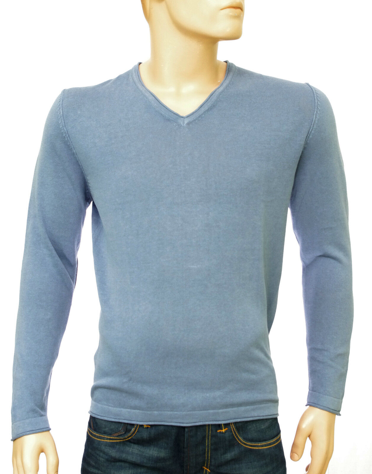 Pull lin coton col V blue jeans HARRIS WILSON homme Theodore size S